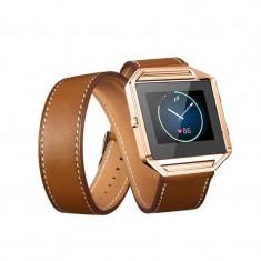 Brățară Infinity din piele ecologică pentru Fitbit Culoare Maro - Bratara fitness