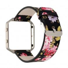 Brățară Floral din piele ecologică pentru Fitbit B Culoare Negru-Roșu - Bratara fitness