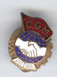 CGM - Confederatia Generala a Muncii anii 1940s insigna MINI cu talpa