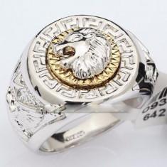Inel Versace cap de Leu Silver-18KT - Inel placate cu aur Bvlgari