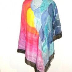 Batic matase naturala multicolora contururi argintii - Batic Dama, Culoare: Din imagine