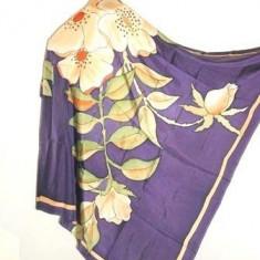 Batic matase naturala cu orhidee hand drawn - Batic Dama, Culoare: Violet