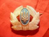 Insigna de Sapca Militara Ukraina metal argintat si email , L= 5 cm