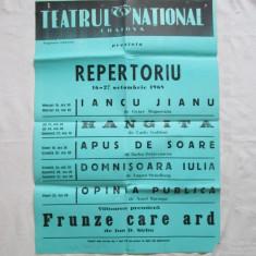 Afis vechi Teatrul National Craiova 1968 - 1969, afis de colectie