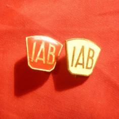 2 Insigne IAB Romania , metal si email , h= 1,7 cm