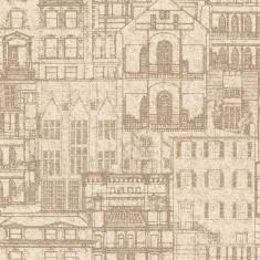 Rola tapet Facade Vintage Blueprint 52 cm x 10 m