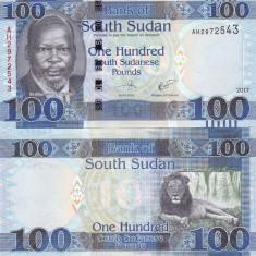 Sudanul de Sud 100 Pounds 2017 UNC - bancnota africa
