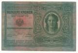 AUSTRIA  AUSTRO-UNGARIA 100  KRONEN KORONA 1912 [5] P-12 scrie UNA SUTA COROANE