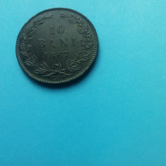 10 BANI 1867-WATT-SUPERB!!! - Moneda Romania