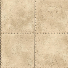 Rola tapet Riveted Industrial Tile Champagne 52 cm x 10 m