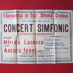 Afis vechi Filarmonica de stat Oltenia Craiova 1968, afis de colectie