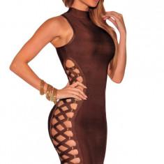 BAN374-88 Rochie sexy bandage, decupata pe lateral si accesorizata cu snur - Rochie de club, Marime: M, M/L