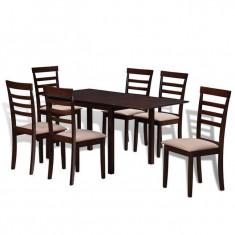 Set masă extensibilă de bucătărie cu 6 scaune, lemn masiv, maro crem