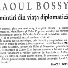 Raoul Bossy - Amintiri din viata diplomatica (II)