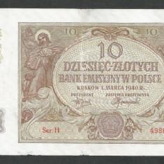 POLONIA 10 ZLOTI ZLOTYCH 1940 [8] P-94, Ocupatie Nazista - bancnota europa
