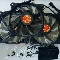 Ventilatoare PC 120 mm Raijintek AURA 12 RGB LED set 3 buc - poze reale - Cooler PC, Pentru carcase