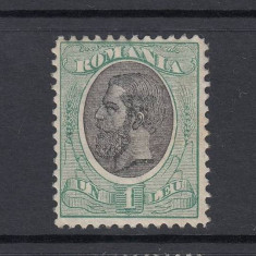 ROMANIA SPIC DE GRAU 1900 FARA FILIGRAN - 1 LEU VERDE SI NEGRU MNH - Timbre Romania, Nestampilat