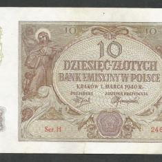 POLONIA 10 ZLOTI ZLOTYCH 1940 [7] P-94, Ocupatie Nazista - bancnota europa