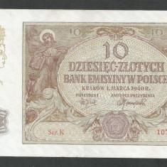 POLONIA 10 ZLOTI ZLOTYCH 1940 [3] P-94, Ocupatie Nazista - bancnota europa