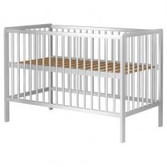 Patut copii din lemn Hubners Dominic 120x60 cm alb - Patut lemn pentru bebelusi