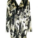 Bluza catifea matasoasa negru/bej JOHN D 48, Maneca lunga, Casual