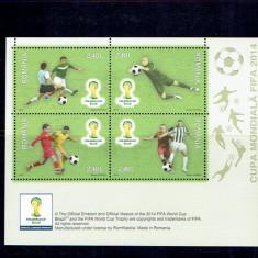 Romania 2014 - Cupa mondiala FIFA - bl. 592 - Timbre Romania, Sport, Nestampilat