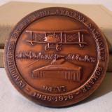 Placheta AVIATIE -INAUGURAREA PRIMEI LINII AERIENE ROMANE, medalie in cutie