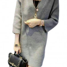 M416-18 Rochie tricotata, tip pulover cu maneci 3/4 - Rochie tricotate, Marime: S/M