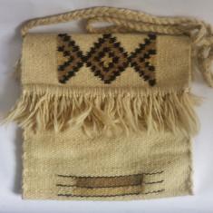 Straita traista traditionala din lana, 27x27 cm, etno, accesoriu costum popular