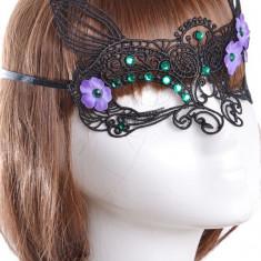 MSK50-1 Masca din broderie, accesorizata cu pietricele si flori - Butterfly Fairy - Masca carnaval