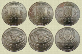 Set complet 3 monede romanesti comemorative, 10 lei 1995 si 1996, UNC, Nichel