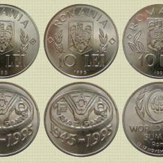 Set complet 3 monede romanesti comemorative, 10 lei 1995 si 1996, UNC - Moneda Romania, Nichel