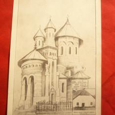 Ilustrata Proiectul Bisericii Noi din Nasaud, interbelica - Carte Postala Transilvania dupa 1918, Necirculata, Printata