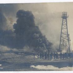 4296 - CAMPINA, Prahova, oil wells, Fire - old postcard, real PHOTO - used 1923, Circulata, Fotografie