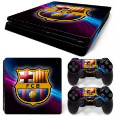 Skin / Sticker FCB Barcelona Playstation 4 PS4 SLIM + 2 Skin controller, Huse si skin-uri