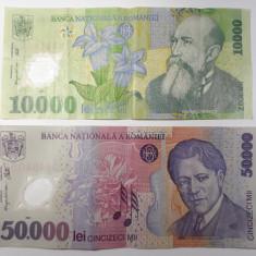 Lot 10000 lei 2000 + 50000 lei 2001 Romania, lot 2 bancnote polimer
