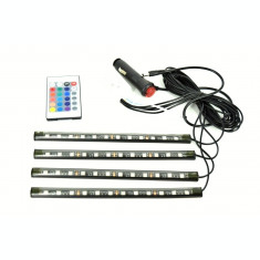 Kit Lumini interior LED 9 SMD RGB cu telecomanda - 12.5cm  AL-230118-7