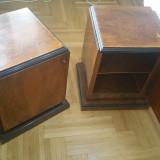 Set 2 noptiere din lemn masiv de nuc