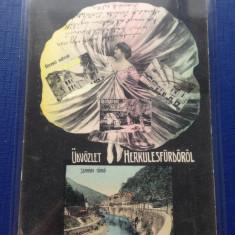 Băile Herculane 1909 Jud:Caraș-Severin - Carte Postala Banat 1904-1918, Circulata, Fotografie