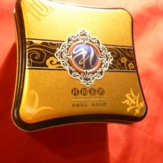 Cutie metalica Ceai China, frumos ornamentata, dim.= 9x9x5, 8 cm - Cutie Reclama