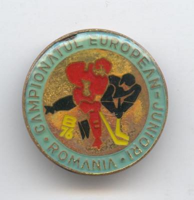 HOCHEI pe GHEATA - CAMPIONATUL EUROPEAN de JUNIORI ROMANIA 1976 Insigna SPORT foto