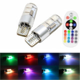 Bec pozitie RGB CU TELECOMANDA 2X T10 6 LED SMD 5050 RGB KIT COMPLET AL-220118-4