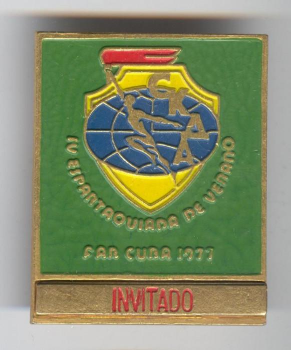 SPARTACHIADA - ARMATELE PRIETENE PACT VARSOVIA - CUBA 1977 Insigna Sport foto mare
