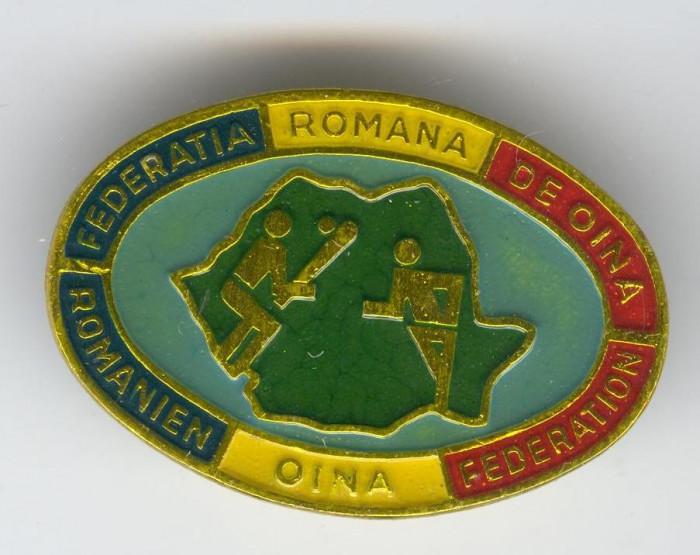 FEDERATIA ROMANA DE OINA - SPORT NATIONAL !! Insigna foto mare