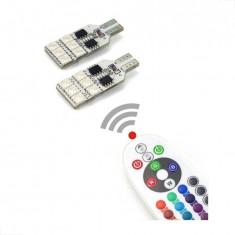 Bec pozitie RGB CU TELECOMANDA T10 12 LED SMD 5050 12V  KIT COMPLET AL-031016-2