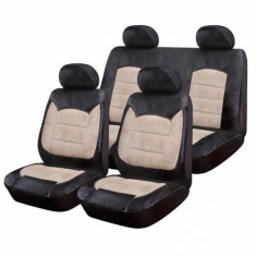 Huse Scaune Auto RoGroup Suzuki Samurai Luxury NegruCrem 9 Bucati - Husa scaun auto