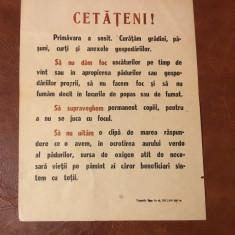 Afis / Fluturas perioada comunista Sfaturi cetatenesti privind ocrotirea paduri - Reclama Tiparita