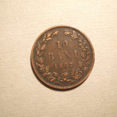 10 BANI 1867 PATINA - Moneda Romania