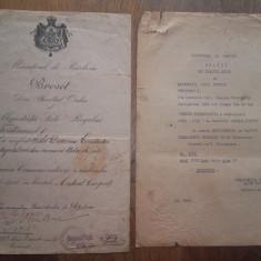 BREVET CRUCEA COMEMORATIVA A RAZBOIULUI 1916-1918, doua barete