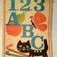 1, 2, 3, A, B, C - Carte de colorat / Iorgos Iliopolos, Ed Ion Creanga 1980